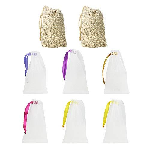 LYTIVAGEN 2 Stück Baumwolle Seifenbeutel Sisal Seifensäckchen Seife Mesh Tasche 6 Stück Nylon Seifennetz Natur Seifentasche Seifenrestebeutel zum aufschäumen und trocknen der Seife