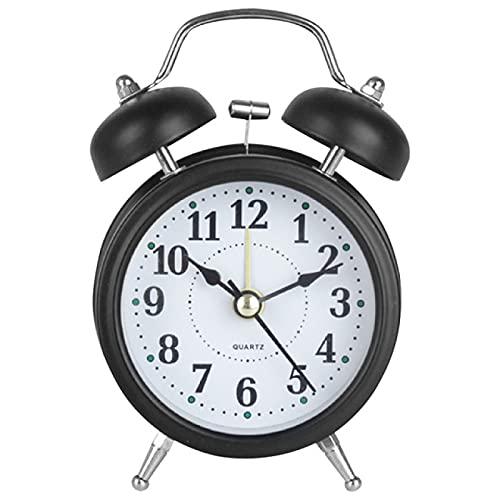 Aiong Reloj Despertador, Reloj Despertador de Campana Doble de 3 Pulgadas, Marco de Metal, Esfera 3D con luz de Fondo, luz Nocturna, Escritorio, Mesa, Reloj