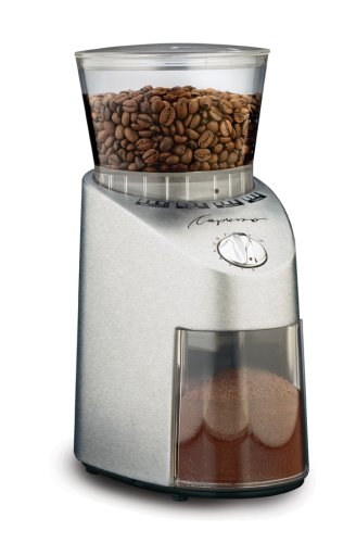 Capresso Infinity Conical Burr Grinder, See-through bean container holds up to 8.8 oz of beans