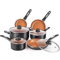 Best Budget FGY 10 Pieces Nonstick Pots and Pans Copper Cookware Set