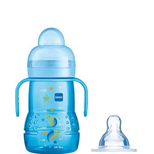 MAM Trainer+, Trainingsflasche, 2-in-1 für einen einfachen Übergang, FBT102B, Blau