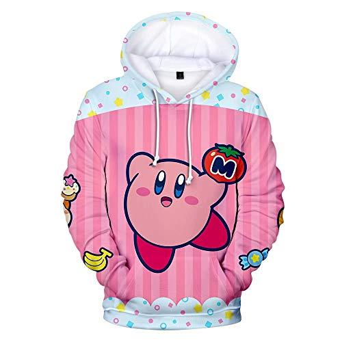 Luminous1128 Kirby Hoodie Kawaii Print Lose Beiläufige Pullover Hoodie Tops Sweatshirt Cosplay Kostüm Unisex Realistische 3D Gedruckt mit Taschen für Männer Frauen