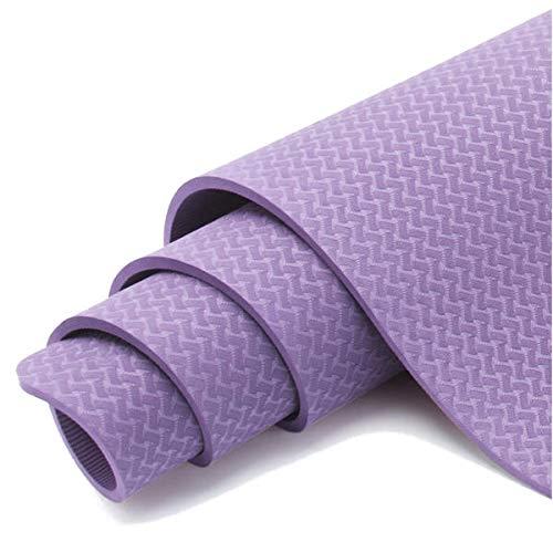 Select Zone Esterilla de yoga TPE antideslizante de 6 mm para el medio ambiente, para ejercicios deportivos (color: violeta)