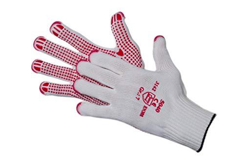 Jah 5040 Baumwolle/Nylon Strickhandschuh 12 Paar Noppen schwer weiß Gr. 7
