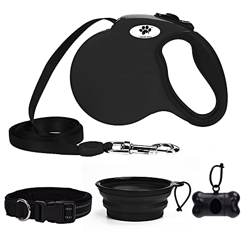 Heavy Duty Retractable Dog Leash for Large Dogs up to 110lbs,16 ft Strong Nylon Tape, Black