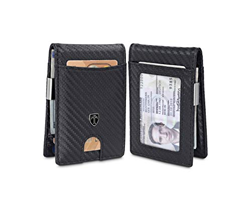 TRAVANDO Money Clip Wallet Atlanta Mens Front Pocket Slim RFID Blocking - Credit Card Holder - Mini Bifold (Carbon Leather, Carbon)