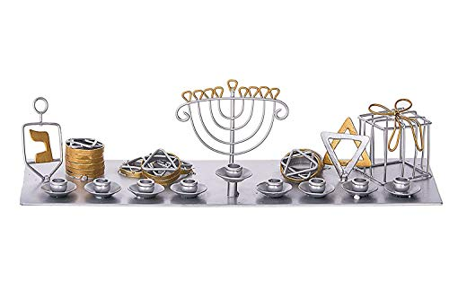 Hanukkah Wire Metal Menorah Star of David Gift Box Coins & Dreidel Design