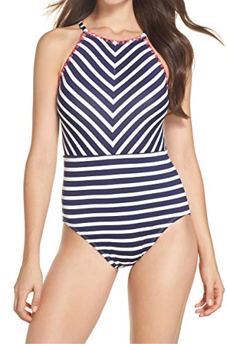 Tommy Bahama Breton Stripe High-Neck One-Piece Swimsuit Mare Navy/White 8