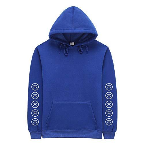 NOBRAND Herbst und Winter Frottee Pullover Herren Kapuzenpullover Solid White Cotton Sweater Gr. XX-Large, blau