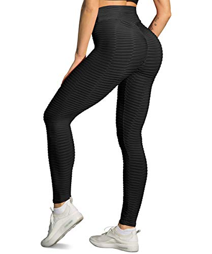 Yaavii Damen Sport Leggings Lange Kompressions Sporthose Hohe Taille Yoga Hose Fitness Hose mit Bauchkontrolle Schwarz M