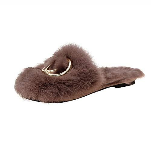 B/H Animados Pareja Zapatos Calzado,Pantofole in Peluche invernali in Metallo, pantofole Casual calde da Donna-Brown_39,Zapatos Antideslizante Pantuflas