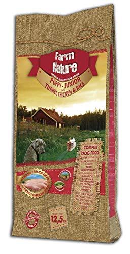 Farm Nature Pienso seco para Perros Cachorros y Junior. FN Pavo y Pollo con Arroz Junior - Todas Las Razas - 12,5 kg