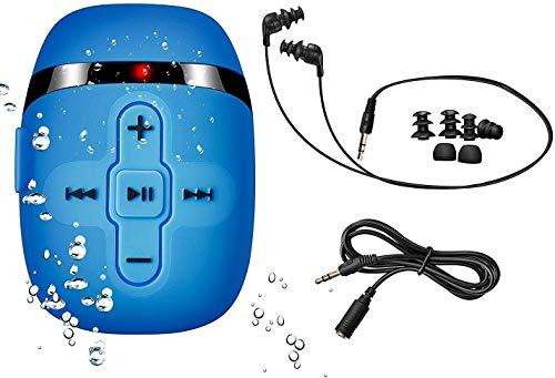 【2019 NUOVA VERSIONE】 HIFI riproduttore musicale audio MP3 impermeabile per nuoto e corsa, cuffie subacquee con cavo corto (3 tipi di auricolari), funzione Shuffle … (Blue)