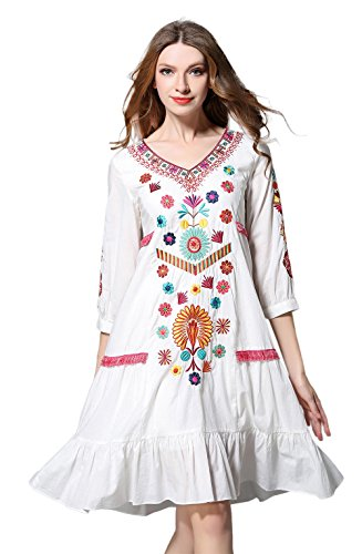 Shineflow Womens Casual 3/4 Sleeve Floral Embroidered Mexican Peasant Dressy Tops Blouses Shirt Dress Tunic (M) White