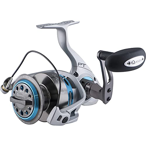 Quantum Cabo Saltwater Spinning Fishing Reel, 7+1 Bearings with a Smooth and Powerful 4.9:1 Gear Ratio, Continuous Anti-Reverse Clutch, Magnum CSC Drag System, Size 80 Reel, Silver/Blue