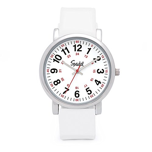 Speidel Scrub Watch for Medical Professionals with White Silicone Rubber Band - Easy to Read Timepiece with Red Second Hand, Military Time for Nurses, Doctors, Surgeons, EMT Workers, Students and More