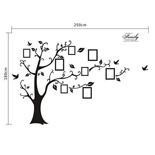 WallStickersDecal® PVC Riesig Schwarz Bilderrahmen Speicher Baum Vine Zweig Abnehmbare Wandtattoo Sticker