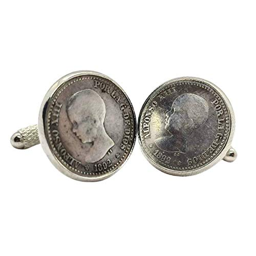 Gemelos para camisa: Genumis Borbón - Moneda 50c peseta 1892 Plata Es