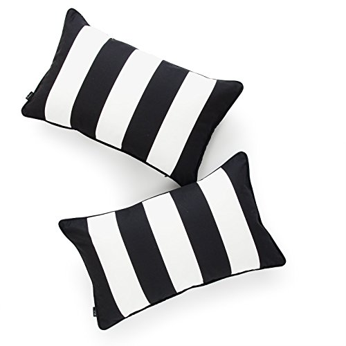 Hofdeco Decorative Lumbar Pillow Cover ONLY Indoor Outdoor Water Resistant Canvas Modern Black Stripes 12
