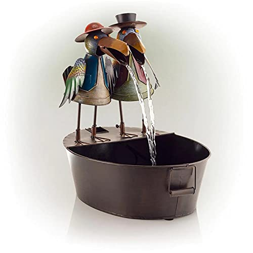 Woyada - Fontana d'acqua in metallo per esterni, con pompa ad acqua, per giardino, cortile