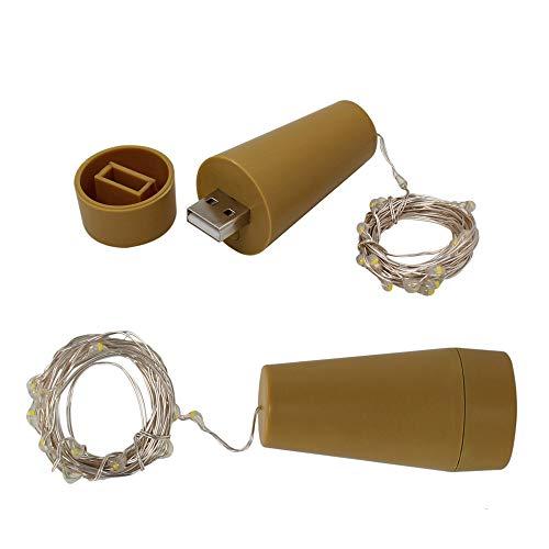 BXROIU 2 Stück Flaschenlichter Lichterketten mit USB Aufladbare Batterie,und 3 Programm 20er Led Lichterkette auf 2 Meter Silber Draht für Flasche Warmweiß (USB Aufladbare)