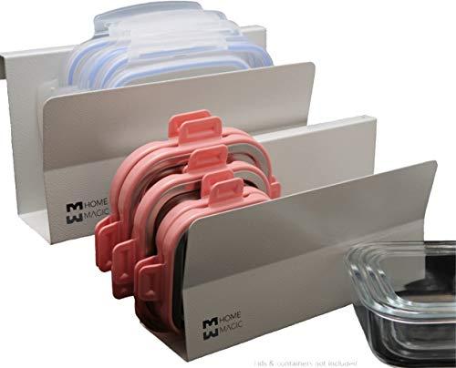 Home Magic Smart Storage Lid Organizer, Lid Holder, Lid Rack Organizer,Kitchen Organizer,Drawer Lid Organizer,Lids Organizer,Plastic Lid Organizer,Cabinet Lid Rack,Drawer Divider Metal