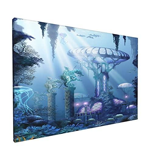 Sin Marco Mural Impresiones en Lienzo,Fantasía Agua Mar Océano Acuático Oceanía Marino Ciudad Naval Submarino Coral Animales Me,Oficina en Casa Decoración Mural Pintura al óleo Arte de Moda,18' x 12'