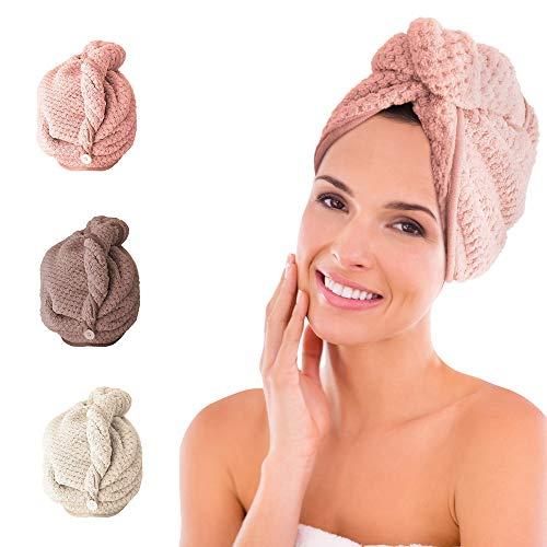 trounistro Haarturban, 3 Stück Turban Haartrockentuch Schnelltrocknendes saugfähig Handtuch, Kopftuch Handtücher Turban Handtuch mit Knopf für Mädchen Frauen