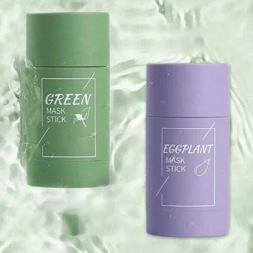 Green Tea Face Solid Mask Stick Remove Acne Blackhead Nose Deep Cleaning Pore, Eggplant Hydrating Blackhead Remover Facial Mask Repair and Shrink Pores