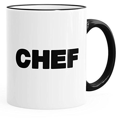 MoonWorks Kaffee-Tasse Chef-Tasse mit Farbiger Kante und Henkel schwarz Unisize