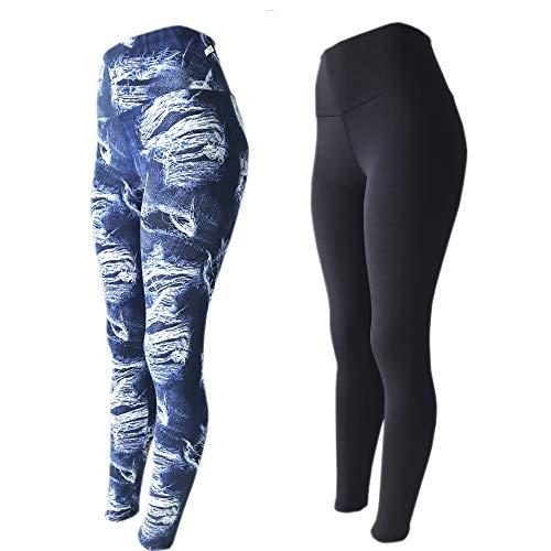 Kit 2 Legging Suplex Estampada Ou Lisa Leg Academia Ginastica, LEGBrasil, jeans-preto, P