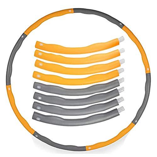 HFSKJ Ponderata in Schiuma Imbottita Fitness Pallacanestro, 96Cm Esercizio Fitness Anello Saluto Groove Design Hula Hoop per Nucleo Equilibrio E Il Rafforzamento (Giallo E Grigio)