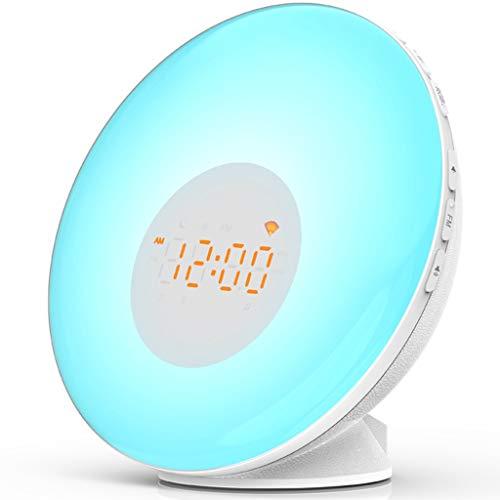 PBTRM WiFi Reloj Despertador Inteligente, Wake Up Light, Función Snooze, 2 Alarmas, Radio FM, Luz LED 7 Colores, Simulación Amanecer Y Atardecer, Luz Nocturna, Compatible con Alexa Y Google Home