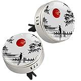 2PCS giapponese tradizionale barca pittura sole stampa auto aromaterapia diffusore olio essenziale medaglione chiusura magnetica con clip di sfiato 4 cuscinetti di ricarica (argento)