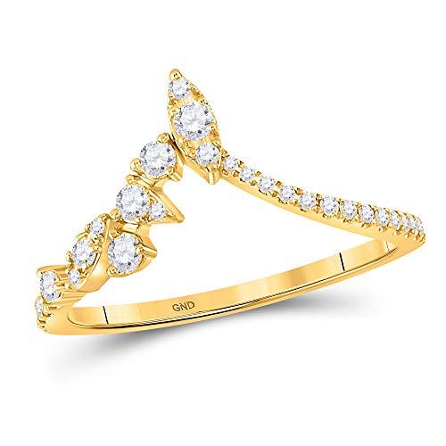 Diamond2Deal Anillo de oro amarillo de 14 quilates con diamante marquise Dot Chevron para mujer 1/3 Cttw