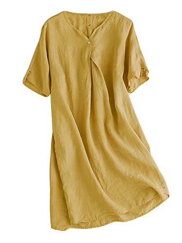 Mallimoda Damen Sommerkleid Leinenkleider V-Ausschnitt Kurzarm Midi Kleid Lange Tunika Bluse Gelb XXL