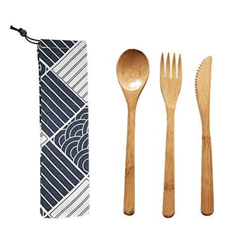 Ourine - Juego de 3 cubiertos de bambú naturales, tenedor, cubiertos de viaje respetuosos con el medio ambiente