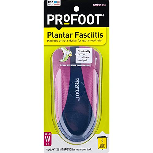 ProFoot Orthotic Insoles for Plantar Fasciitis, Women's 6-10