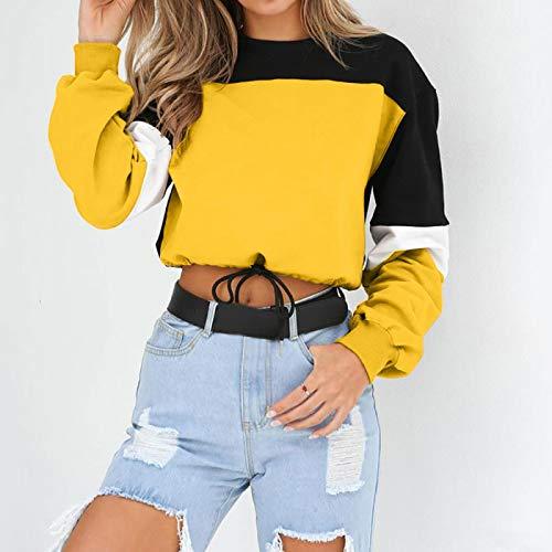 Moda Sudaderas Jersey Sweater Sudaderas con Capucha De Mujer De Manga Larga Suelta Crop Top Sudadera Casual Patchwork Cuello Redondo Cintura Elástica Jerseys Streetwear M Amarillo