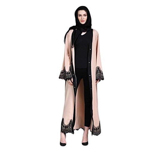 Amphia Damen Frauen Muslim Abaya Dubai Muslimische Kleid Kleidung Kleider Arab Arabisch Indien Türkisch Casual Abendkleid Hochzeit Kaftan Robe (Beige, M)