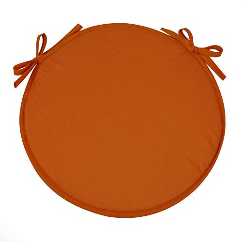 SimpVale Set of 4 Seat Cushions with Ties - Round Chair Pads for Armchairs Garden Outdoor Indoor Chairs, Diameter 38cm, Orange