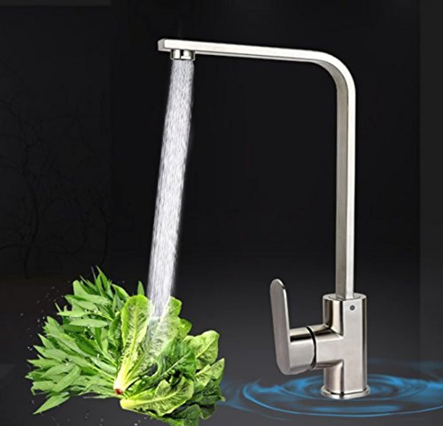 Mangeoo Faucet Stainless Steel Kitchen Sink Wash Dishes Dish Faucet greenical redary Cold Hot Wire Drawing Faucet