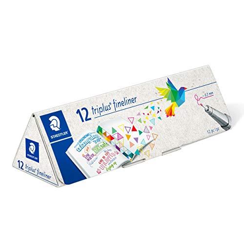 STAEDTLER 334 CPC12 Triplus Fineliner - Estuche de cartón triangulares con 12 rotuladores triplus fineliner de punta fina, colores surtidos