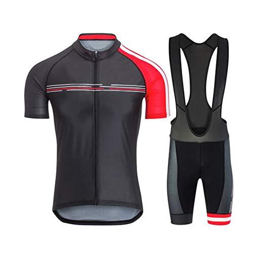 Jnsio Traje Ciclismo Hombre Verano MTB Ropa Deportiva + Respirable Pantalones Cortos Multiple Anti-Slip Straps Ropa De Deporte,A,XL