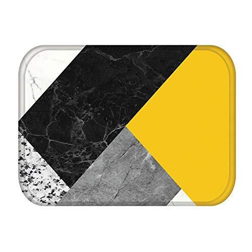HLXX Alfombra geométrica de mármol para Puerta de Entrada de Cocina, Alfombra de Gamuza, Alfombra Antideslizante para Interiores de Color de Goma, Alfombra A12 40x60cm