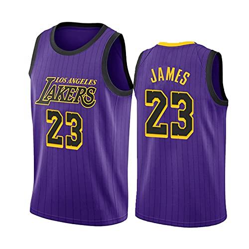 Camisa de Baloncesto de James # 23, Uniforme de Baloncesto de los Hombres de Hip-Hop de 90s, Space Movie Jersey Purple S-XXL. Niños/Uniformes de Baloncesto Juvenil Purple-XXL