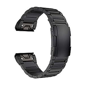 LDFAS Fenix 6X/5X Plus Band, 26mm Titanium Metal Quick Release Easy Fit Watch Strap with Double Button Clasp Compatible for Garmin Fenix 6X/6X Pro/5X/5X Plus/3/3HR Smartwatch, Black