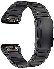 LDFAS Fenix 5X Plus Band, 26mm Titanium Metal Quick Release Easy Fit Watch Strap with Double Button Clasp Compatible for Garmin Fenix 5X/5X Plus/3/3HR Smartwatch, Black