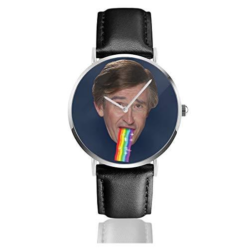 Unisex Business Casual Alan Rebhuhn Puking Regenbogen Snapchat Filter Uhren Quarz Leder Uhr mit schwarzem Lederband für Männer Frauen Young Collection Geschenk