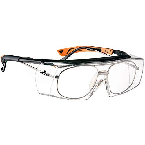 NoCry - Gafas de seguridad con lente óptica anti rasguños - Certificaciones ANSI Z87 y OSHA - varillas ajustables y protección (contra rayos de sol) UV 400 - marco negro y naranja ✅